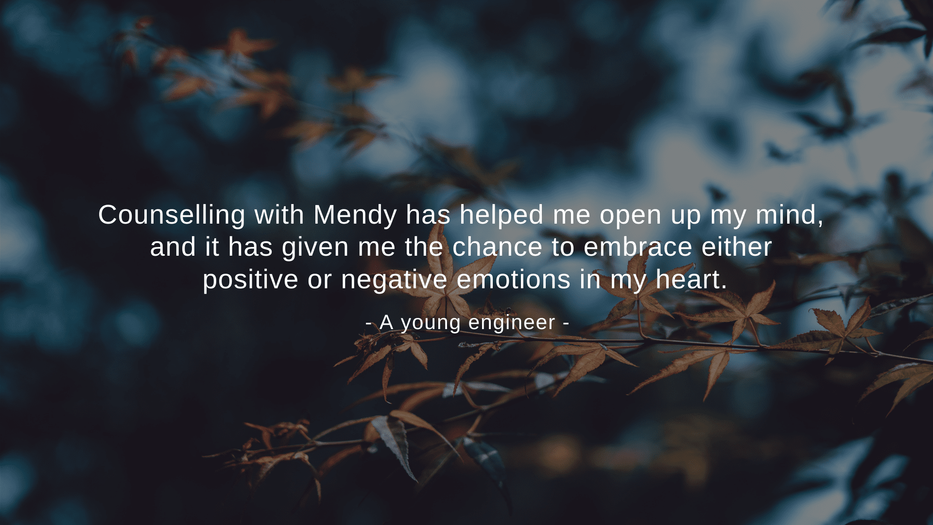 """""""Counselling with Mendy has helped me open up my mind, and it has given me the chance to embrace either positive or negative emotions in my heart."""" A young engineer"""