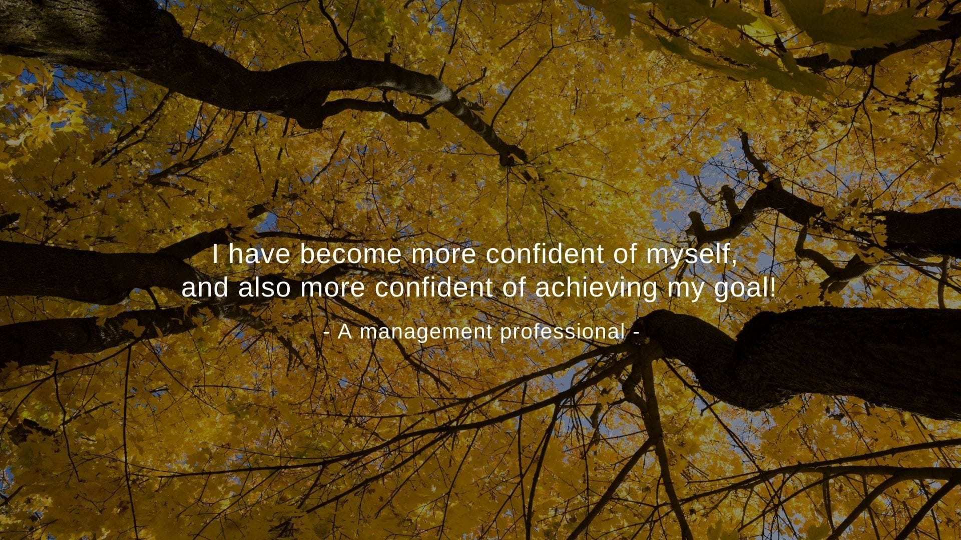 """""""I have become more confident of myself, and also more confident of achieving my goal!"""" A management professional"""